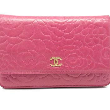 Auth Chanel Lambskin Leather Wallet On Chain Shoulder Bag Peach Red
