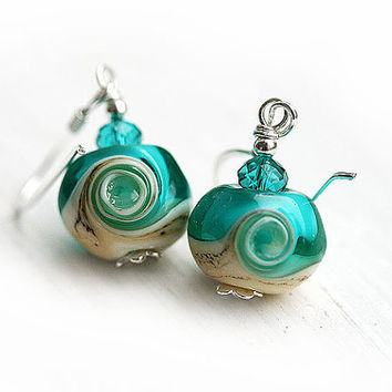 Beach Earrings - ocean teal lampwork beads on sterling silver, beach jewelry by MayaHoney