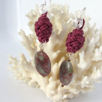 Wine Knot Earrings Nautical Marlinspike Bead with Jasper Stone Dangle Hand Knotted Historical Jewelry