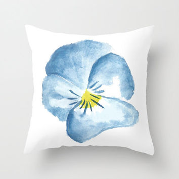 Blue pansy illustrated watercolour decorative pillow cover, cute cushion cover, girly decor, pastel floral pillow case, hand illustrated.