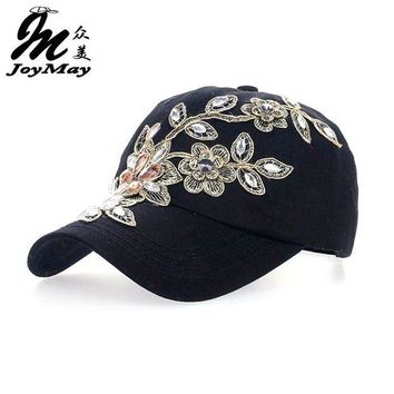 DCCKU62 2016 Women Variety Rhinestone &Crystal Shining Studded Cotton Denim Visor Hat Bling Adjustable Baseball Caps Free Shipping B038