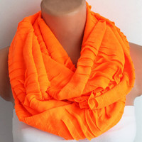 Infinity Scarf Loop Scarf Neon Orange Jersey Cotton Soft Scarf