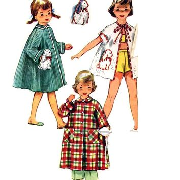 Girls Vintage Robe and transfers for bunny rabbit Vintage Sewing pattern Simplicity 4503 Childrens Size 3