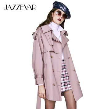 JAZZEVAR 2019 New Autumn Fashion Casual Women's Trench Coat Double Breasted Outerwear For Lady Good Quality YA7028