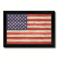 American Flag  Texture United States of America Canvas Print with Black Picture Frame Home Decor Wall Art Decoration Collection Gift Ideas