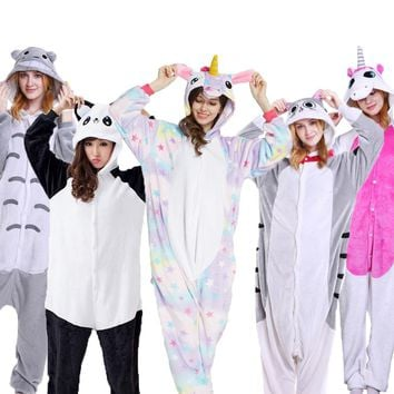 PSEEWE Unicorn Stitch Panda Unisex Flannel Pajamas Adults Anime Animal Onesuits Winter Warm Sleepwear Hoodie For Women Men