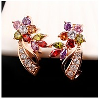 Crystal flower ear nail dazzle color zircon earrings with a phoenix jewelry  ebay boutique goods source