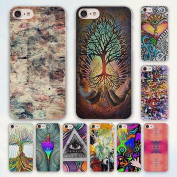 MOUGOL Abstract Crazy Trippy hippy Marijuana design hard clear Case Cover for Apple iPhone 7 6 6s Plus SE 4s 5 5s 5c Phone Case