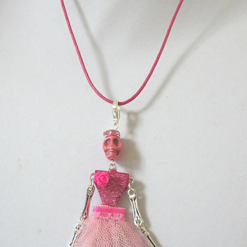 Day Of The Dead Necklace Sugar Skull Dancer Ballerina Jewelry Skeleton Dia De Los Muertos Doll