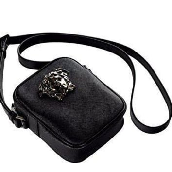 Versace Palazzo Medusa Head Saffiano Leather Cross Body Bag Dl25966 Dpvcg Black