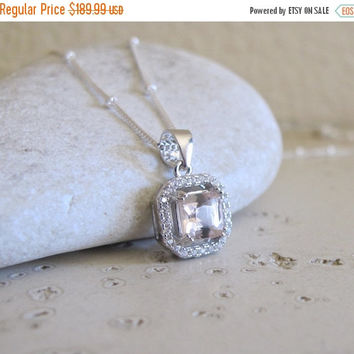SALE Halo Morganite Necklace- Pink Stone Necklace- Bridal Wedding Necklace- Square Shaped Necklace- Gemstone Necklace- Sterling Silver Neckl