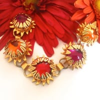 Sunburst Pink Orange Red Glass Link Bracelet Colorful Retro Fashion Jewelry