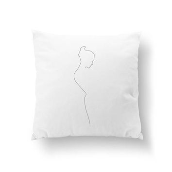 Female Figure Profile, Woman Silhouette, Cushion Cover, Throw Pillow, Body Drawn, Minimal Art, Bed Pillow, Home Decor, Black And White