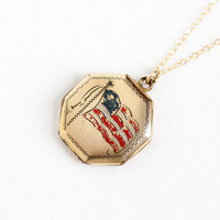 Vintage 12k Rosy Yellow Gold Filled Enamel US Flag Locket Necklace - WWII Octagon Soldier Photos Red White & Blue Jewelry Hallmarked Theda