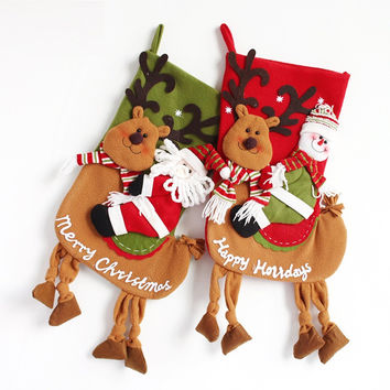 Christmas Fabric Stocking Sock Gifts Bags Tree Decoration (Size: 55CM) [9431838148]