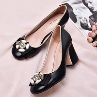 GUCCI Bee Pearl Women Fashion Leather High Heels Shoes