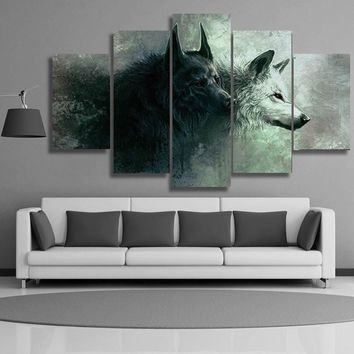 HD Printed Modern Home Decor Canvas Living Room 5 Panel Red Eyes Two Wolf Painting Wall Art Modular Poster Framework Pictures