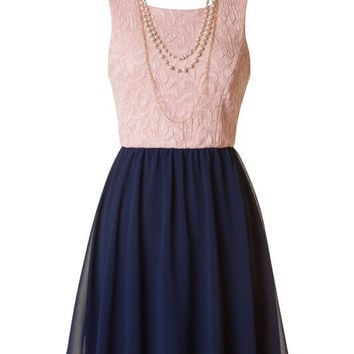 Pearls and Lace Dress - Navy and Peach