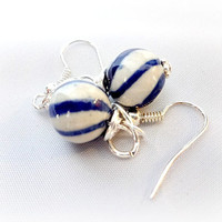 Navy Blue and White Nautical Earrings, Sailor Jewelry, Summer Jewelry