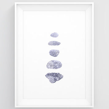Pebble art — Stone poster, Zen home decor, Rock cairn, Sparkly blue wall art, Bedroom posters, Affordable wall art, Large wall decor bedroom