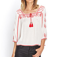 FOREVER 21 Embroidered Peasant Top Cream/Red