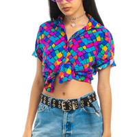 Vintage 90's Distress Rainbow Diamond Button-Up - XS