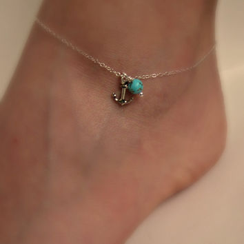 Silver Anchor Anklet with Turquoise Delicate jewelry Sorority gift Girlfriend gift Wedding Gifts Shower Gifts