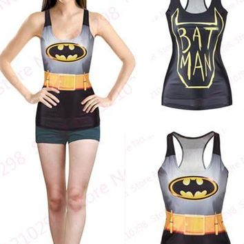 Batman Tank Tops Sleeveless Digital Print Gold Bat Logo The Dark Knight Vest Sexy Women Fitness Sports Yoga Top Camisole Leisure