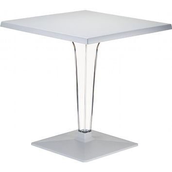 Ice Werzalit Top Square Dining Table with Transparent Base 24 inch Silver