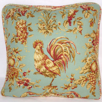 "Aqua Rooster Throw Pillow Waverly Rendezvous Teal Saison de Printemps Swept Away Paisley Reversible 18"" Square  Cover & Insert Ready to Ship"