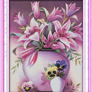 Flower Pink Lily Cotton Canvas DMC Cross Stitch Kits Art Crafts Accurate Printed Embroidery DIY Handmade Needle Work Home Decor