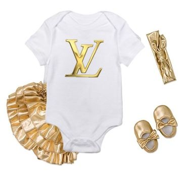 Inspired Louis Vuitton Gold Baby Onsie and Bloomer/Shoe Set - all logos