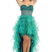 Two-Tone High Low Ruffle Prom Dress in Green