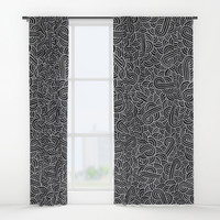 Black and faux silver swirls doodles Window Curtains by Savousepate