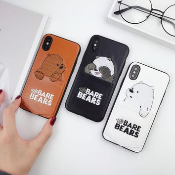 Luxury 3D Embroidery Shockproof Case for iPhone X XS 2018 Cartoon Qute Bear Pu Leather Card Pocket Case for IPhone 6 7 8 plus X