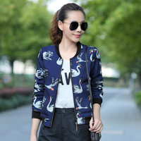 Cute Swan Jacket Women Varsity Jacket Blue Black Baseball Coat Outwear Zipper Cardigans Sweatshirt Plus Size S-2XL C51105