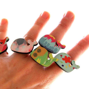 Whale Ring in Turquoise, Pink and Orange