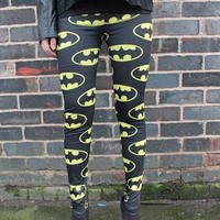 Black Batman Bat Logo Legging Geek Comic Stance from DivaRepublic
