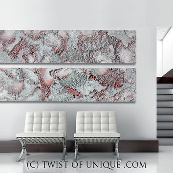 Oxidized metallic Abstract Painting, CUSTOM 2 panels (60 Inches x 18 Inches)  Metal Wall Art, - Steel, Silver, steel ,Metallic, Rusted metal