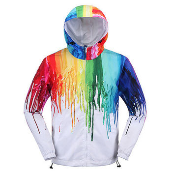 Art Creative Painting Color Couple fashion Hooded Zipper Cardigan Sweatshirt Jacket Coat Windbreaker Sportswear _ 9257