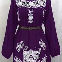 """La Mariposa"" Embroidered Mexican Dress - Royal Purple"