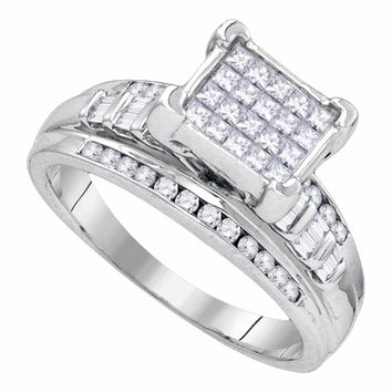 Sterling Silver Womens Princess Diamond Square Cluster Bridal Wedding Engagement Ring 7/8 Cttw