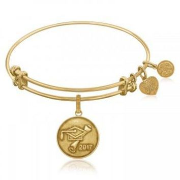 ac NOVQ2A Expandable Bangle in Yellow Tone Brass with Class Of 2017 Graduation Cap Symbol
