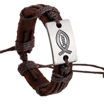 Fashion Jewelry Jesus Fish Alloy Leather Bracelet Women Casual Personality hemp rope Bracelet Vintage Punk Bracelet Men 0286