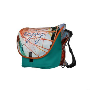 """Enjoy"" fun ferris wheel ride photo messenger bag"