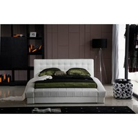 Bellaire Queen Size Bed Frame & Headboard White Tufted Leather