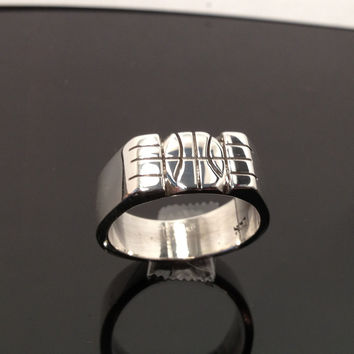 Large Hand Carved Basket Ball Ring on Solid 925 Sterling Silver