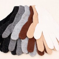 Colorful 50/50% Alpaca Blend Full Fingered Knit Alpaca Gloves