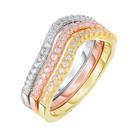 Sterling Silver Rose Yellow And Rhodium Plating Stackable Triple Set Bands With Cz Stones - 2 mm Width Each