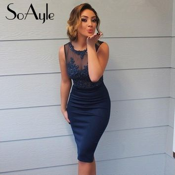SoAyle Sleeveless Satin Scoop Straight  2016 Knee-Length Appliques Sequined Two Pieces Fast Shipping Grade Cheap Cocktail Dress